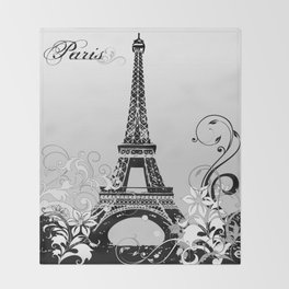 Eiffel Tower Paris (B/W) Throw Blanket