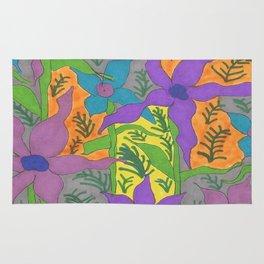 Violets in the Sky Boho Floral Rug