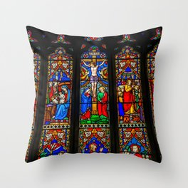 INRI Stained Glass Throw Pillow