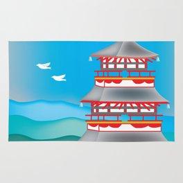 Kyoto, Japan - Skyline Illustration by Loose Petals Rug