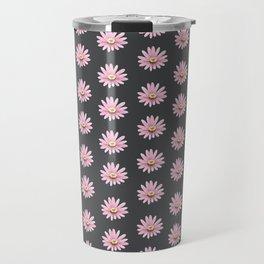 Modern gray blush pink girly daisies floral pattern Travel Mug