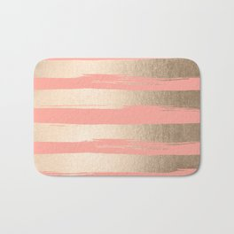 Painted Stripes Tahitian Gold on Coral Pink Bath Mat
