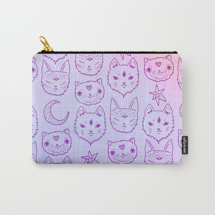 Kitty Mystics in Pink Carry-All Pouch