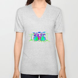 Colorful Drum Kit Unisex V-Neck