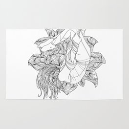 aerial yoga abstract lotus outlines // coloring page Rug