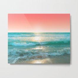 Aqua and Coral, 1 Metal Print