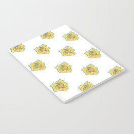 Yellow and Turquoise Rose Notebook