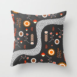 Acorns, flowers and a dotted river Throw Pillow