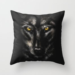 hand-drawing portrait of a black wolf on a black background Throw Pillow