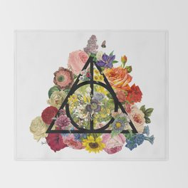 Floral Deathly Hallows - Black Throw Blanket