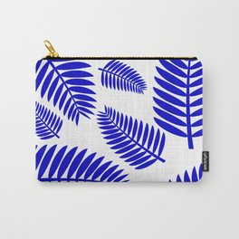 Blue Leaves Ferns Pattern Carry-All Pouch