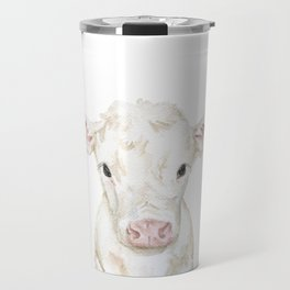 Baby White Cow Calf Watercolor Farm Animal Travel Mug