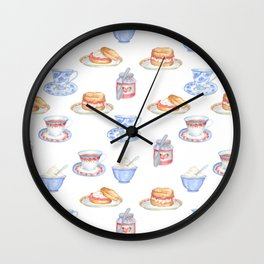 British Cream Tea Pattern Wall Clock