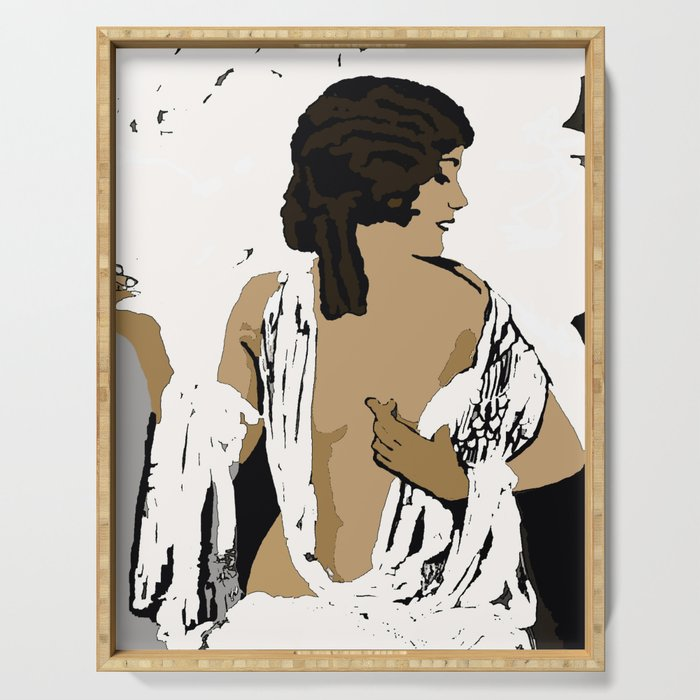 Femme Fatale Flapper circa 1920's Beautiful Women In A Bold New World Serving Tray