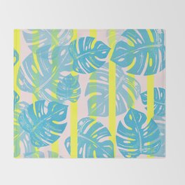 Linocut Monstera Neon Throw Blanket