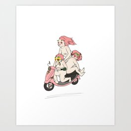 Nudists on a Scooter Art Print