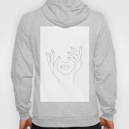 Minimal Line Art Woman with Hands on Face Hoodie