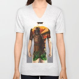 Samurai bodysuit tattoo design Unisex V-Neck