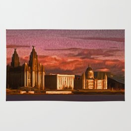 Liverpool Waterfront at Sunset (Digital Art) Rug