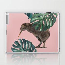 Kiwi Bird with Monstera in Pink Laptop & iPad Skin
