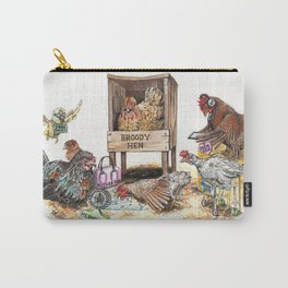"""Life in the Coop"" funny chicken watercolor Carry-All Pouch"