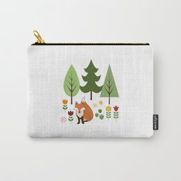 Scandinavian Fox Flowers Trees Illustration Carry-All Pouch