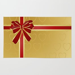 Gift wrapped in red and gold Rug