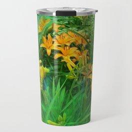 Day-glo Lilies Travel Mug
