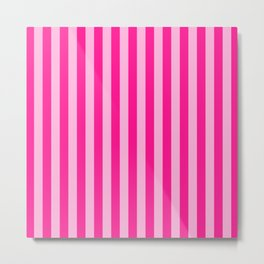 Light Pink & Deep Pink Stripes Metal Print