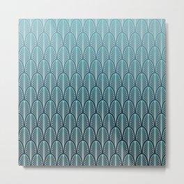 Turquoise Art Deco Pattern Metal Print