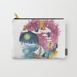 Penguin Sails Across Ocean and Into Sky of Fire Carry-All Pouch