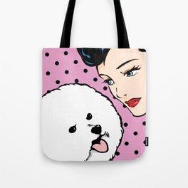 Love Life Comic Girl and Bichon Pop Art Tote Bag