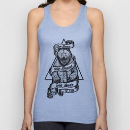 The Bear with Beard and Beer Unisex Tank Top