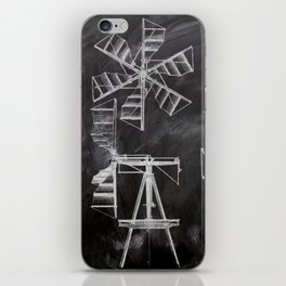steampunk western country chalkboard art agriculture farm windmill patent print iPhone Skin