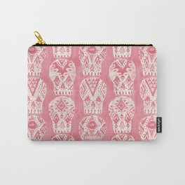 Blush AZTEC MUERTOS Tribal Skulls Carry-All Pouch