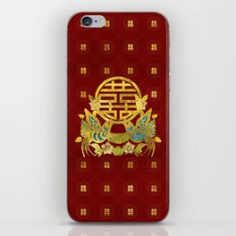 Gold Double Happiness Symbol with  birds iPhone Skin