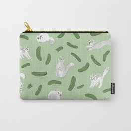 Cats And Cukes - Green Version Carry-All Pouch
