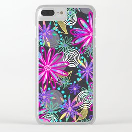 Dotty Flowers in hot pink, aqua & grey Clear iPhone Case
