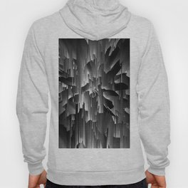 Flowers Exploding with Dots in Black and White Hoody