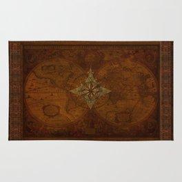 Antique Steampunk Compass Rose & Map Rug