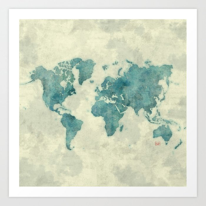 World map blue vintage art print by hubertroguski society6 world map blue vintage art print gumiabroncs Image collections