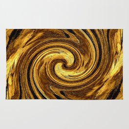 Gold Brown Abstract Sun Rotation Pattern Rug