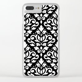 Scroll Damask Large Pattern White on Black Clear iPhone Case