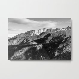Black and White Mountains Metal Print