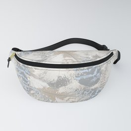 Owls, fashionable, modern, abstract, white, gray, blue, muted , pastel, beige, brown, Fanny Pack