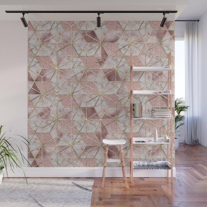 Modern rose gold geometric star flower pattern Wall Mural