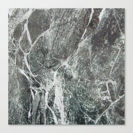 Black marble dark gray marble print with white vains real marble texture pattern natural rock Canvas Print