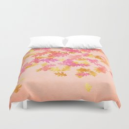Autumn - world 1 - gold glitter leaves on pink background Duvet Cover