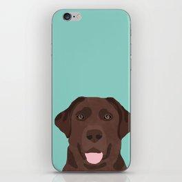 Chocolate Lab dog breed portrait pet art dog lover gifts labrador retriever iPhone Skin