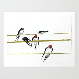 assemblée nationale or swallow on rope Art Print